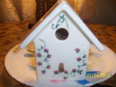 Collectable PORCELAIN Detailed  birdhouse by NAESBARGINBASEMENT, $3.00