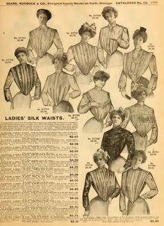 """Blusas de señora. Catálogo """"Sears, Roebuck & Co."""" de principios de 1900."""