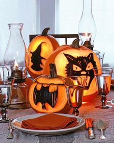 Pumpkin Cut-Outs painted Black...neat idea.
