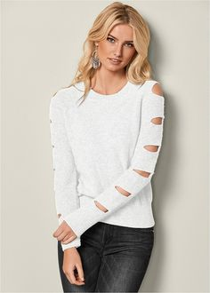 Venus Women's Cut Out Sleeve Sweater Sweaters - White, Size XS