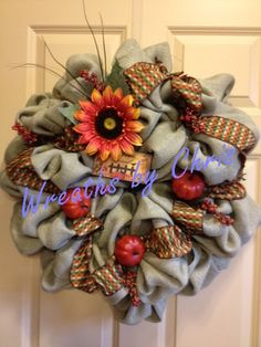 REDUCED PRICE   Pale Green Burlap Autumn Wreath by WreathsByChris, $55.00