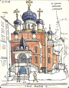 spiridoncathedral111308fm | Flickr - Photo Sharing! Sketchbook Inspiration, Art Sketchbook, Building Illustration, Illustration Art, Moleskine, Monuments, Beautiful Sketches, Urban Sketchers, Watercolor Sketch