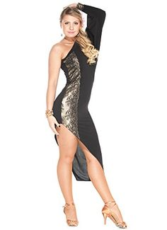 db1688be5 Add a little bit of attitude to your dance wardrobe with this sexy latin  dance dress. From the gorgeous gold lace details to the dramatic hemline,  ...