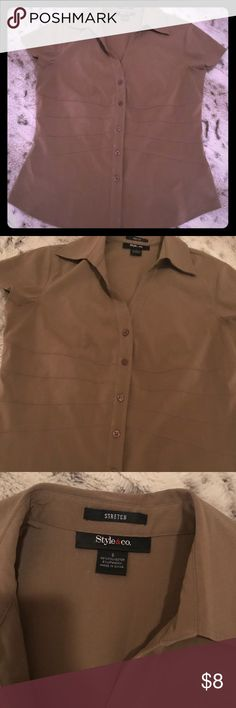 Style & Co. tan short sleeve blouse, 6 Style & Co. tan short sleeve blouse, 6 Style & Co Tops Blouses