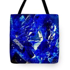 Blue Tote Bag featuring the digital art Blue Rocks Abstract by Len-Stanley Yesh