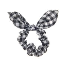 Black and White Gingham Print Ear Scrunchie