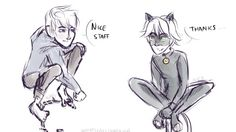 Chat Noir meets Jack Frost :: Credit:: WhatICallDoodling