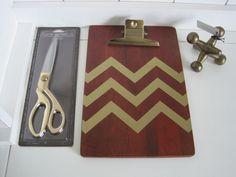 3 Piece Set -Threshold Scissors, Wooden Clipboard, and Metal Jack. Rustic retro metal Jack Paperweight. Modern GOLD Chevron Wooden Clip Board. Stylish Gold Shears/Scissors. | eBay!