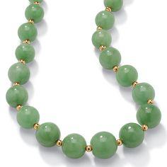 "Jade 10k Yellow Gold Beaded Graduated Necklace 18"""