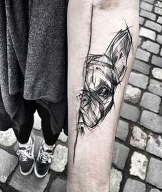 Half Face Dog Tattoo