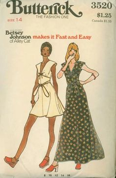 Betsey Johnson Alley Cat Butterick 3520 A Seventies Fashion, 70s Fashion, Vintage Fashion, Kids Dress Patterns, Vintage Dress Patterns, Betsey Johnson, Patron Vintage, Vintage Apron, Vintage 70s