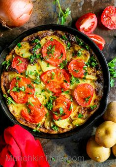 5 Ingredient Spanish Omelette Recipe so easy to make, it will be perfect for Sunday Brunch.-- www.munchkintime.com #spanishomelette