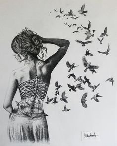 "Young Artist Making Awesome Pictures with Drawing Techniques He Learned from His Father: ""Helen Rose"" - DIY Fashion Pictures Bird Drawings, Pencil Drawings, Drawing Birds, Anatomy Art, Art Graphique, Drawing Techniques, Surreal Art, Art Inspo, Amazing Art"
