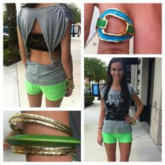 """Neon Green Shorts, Open Back """"Romantic"""" T with Lace Bandeau and Accessories That Pop"""