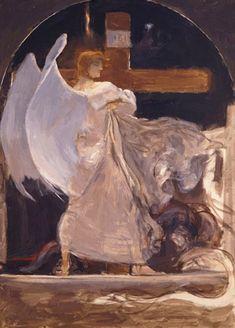"The Archangel, Study for ""The Grounding of Faith"", 1895 - Nikolaos Gyzis Religious Paintings, Religious Art, Religious Icons, Richard Burlet, Greek Paintings, Face Paintings, Angel Warrior, Social Art, Greek Art"