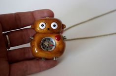 Gold Polymer Clay Compass Robot Necklace by Cyclop on Etsy, $18.00