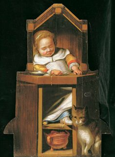 Cornelis Bisschop, Boy sleeping in a high chair, 1654 Medieval, Animal Gato, Johannes Vermeer, Dutch Golden Age, European Paintings, Cat Art, Illusions, Folk Art, Antiques