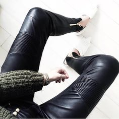Leather Pants Leder Outfits, Fashion Gallery, Leather Pants, Loafers, Summer, Style, Products, Leather Jogger Pants, Travel Shoes