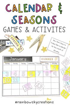 This Telling Time hands-on pack is designed to provide Grade 1 and Grade 2 students with fun, hands-on, differentiated activities for learning to tell the time (including o'clock, half past, quarter past and quarter to). As well as, ordering the months of the year, identifying how many days in each month, identifying the seasons and which months they correlate plus reading and creating a calendar. #rainbowskycreations Days In Each Month, Months In A Year, Primary Maths, Primary Classroom, Create A Calendar, Professional Development For Teachers, Teaching Math, Teaching Ideas, Hands On Learning