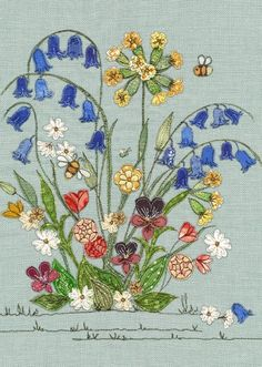Greeting Cards - Pack of 10 designs – Dear Emma Designs Floral Embroidery Patterns, Free Motion Embroidery, Embroidery Art, Machine Embroidery, Embroidery Stitches, Embroidery Designs, Diy Quilting Frame, Patchwork Quilting, Crazy Quilt Stitches
