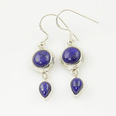 Genuine Lapis Lazuli Solid Sterling Earrings. Starting at $1 on Tophatter.com!