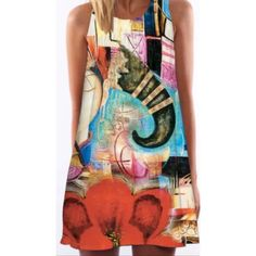 Shift tank dress watercolor abstract elephant S New sleeveless shift very light acrylic chiffon. Watercolor colorful summery abstract elephant print. Size small NWT. Very versatile and great for many shapes!  Shift style is easy - wear over leggings or alone throw over a bathing suit and you can go out to eat. Unusual chic print Dresses Mini