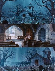 Animation Backgrounds for Robin Hood 1973 Disney Background, Cartoon Background, Spooky Background, Background Drawing, Animation Background, Environment Concept Art, Environment Design, Disney Concept Art, Disney Art