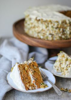 Pistachio-Macadamia Nut Carrot Cake with Brown Sugar Cream Cheese Frosting