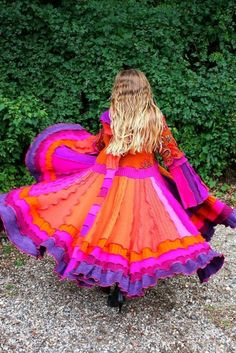 Purple, Candy Orange, Magenta, Fuschia Pink... What a colorful ruffled dress!