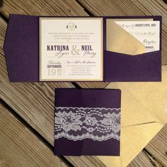 Purple and Gold Wedding Invitations, plum amd gold wedding invitations, ivory lace, gold shimmer