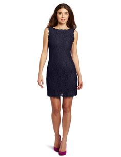 Adrianna Papell Women's Sleeveless Lace Dress, Navy, 4. Sleeveless lace dress featuring scalloped trim and boat neckline. V-back. Exposed zipper at back.
