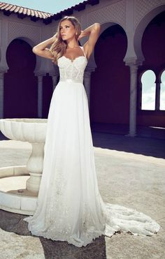 Free Shipping 2014 Romantic A Line White Chiffon Appliques Beaded Spaghetti Straps Wedding Dresses $199.99