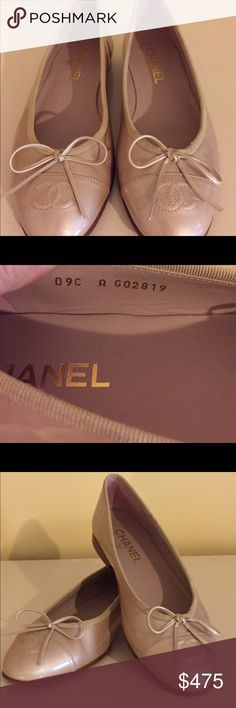 Authentic Chanel Ballet Flats Pearlized Gold Gorgeous Patent leather Chanel ballet flats in a great neutral color, lambskin insoles (in perfect condition). Very light scuffing on soles. Size EU 37. Got as a gift in the wrong size plus I don't wear flats.  NO TRADES. CHANEL Shoes Flats & Loafers