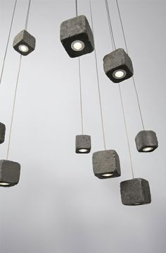 Dicroicos led encapsulados en cubos de concreto....concrete lights