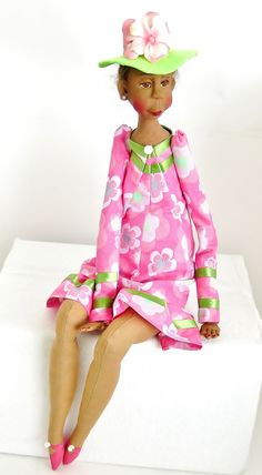 Art Doll dressed in sorority pink and green