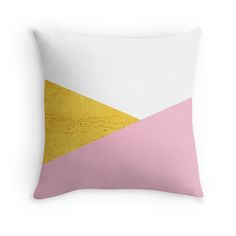 Gold & Pink Geometry Throwpillow by ARTbyJWP on #Redbubble #throwpillow #pillows #pillow #cushion #homedecor #livingroom