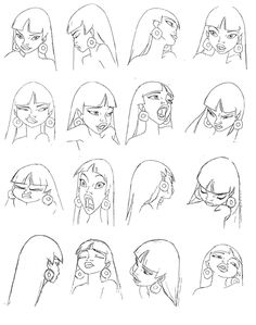 "Chel Expressions Sheet from DreamWorks Animation ""The Road to El Dorado"""