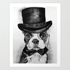 Boston in a Top Hat Art Print by Blue Giraffe Art Works - $15.60