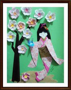 Japonesa com Sakuras, por Marcio Origamus para exposição do Grupo Origami Zig Zag obs: sakuras do Livro Origami em Flor de Vera Young e Flaviane Koti