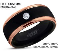 Black Tungsten Ring 18k Rose Gold Black Band by BellyssaJewelry