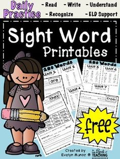This is a sample pack from my entire year pack. Enjoy! You can use these for homework, whole group instruction, center work, individual practice, or however works best for you! Each page is focused on one word, and they can: read, print, find, color, complete a sentence and write in own sentence for each word!