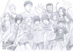 I LOVE it!   From left to right: Clarisse, Luke, Thalia, Tyson, Annabeth, Percy, Grover, Chiron, Rachel, Zoe, Nico, Bianca