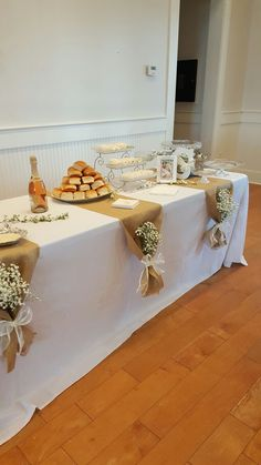 Bridal brunch, burlap table runner,