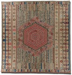 Hexagon coverlet, maker unknown, probably made in Massachusetts, circa 1820-1840, 91.5 x 88 in, IQSCM 1997.007.0930