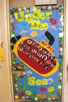 """Under the Sea"" Ocean Unit Door Decoration, with students' pictures in the port holes"