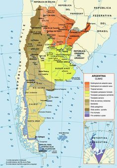 Weather map of Argentina showing all details and climets thought out the Argentine Territory. Including type of weather and temperatures. Uruguay Tourism, Argentina Culture, World Map Wall Art, World Geography, Argentina Travel, Ushuaia, Travel Maps, Mendoza, South America