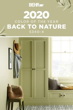 Ready to give your home a fresh new style? Start with the The BEHR® 2020 Color of the Year, Back to Nature. A restorative and revitalizing green that… – Mudroom Behr Paint Colors, Green Paint Colors, Bedroom Paint Colors, Paint Colors For Home, Room Colors, House Colors, Home Design, Interior Design Videos, Design Blogs