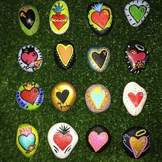 A variety of colorful and pretty hearts on stone!