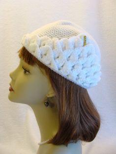 crocodile stitch hat | White Crocodile Stitch Crochet Hat