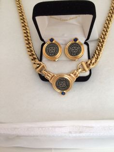 Authentic Givenchy Paris New York Gunmetal Signature Coin Logo Patent Pend Signed Poured Glass Necklace and Earrings Demi Paruer Set Rare